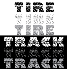 Tire track black and white text vector