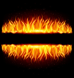 Walls of fire in mirror reflection with blank vector