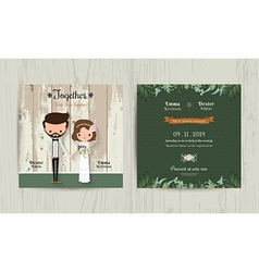 Wedding invitation card cartoon hipster bride and vector