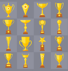 Winner trophy gold cups flat icons for vector