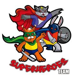 Superheroes team vector image