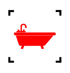 Bathtub sign   red icon inside vector