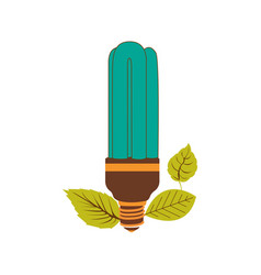 Fluorescent bulb in color turquoise with leaves vector