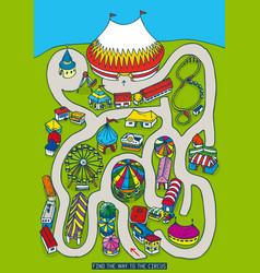 Amusement park and circus maze game vector