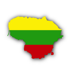 Map and flag of lithuania vector