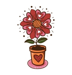 Flower with hearts in a pot vector