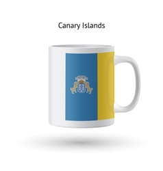 Canary islands flag souvenir mug on white vector