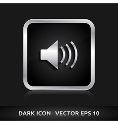 Sound icon silver metal vector