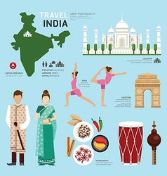 Travel concept india landmark flat icons design vector