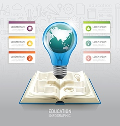 Open book infographic education world light bulb vector