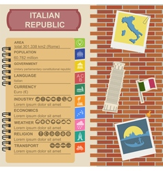 Italian republic infographics statistical data vector