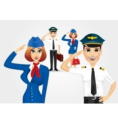 Stewardess and pilot saluting vector