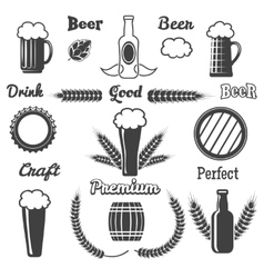 Vintage craft beer design elements vector
