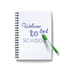 Back to school text on notebook page vector