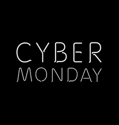 A black background with text for cyber monday vector