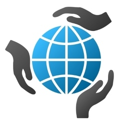 Global protection hands gradient icon vector