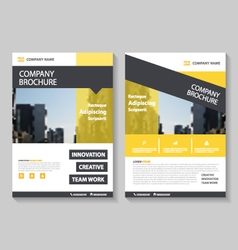 Yellow annual report leaflet brochure flyer set vector