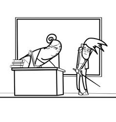 The teacher and schoolboy in school vector image