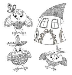 hicken house Funny birds vector image