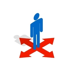 Man at crossroads icon isometric 3d style vector