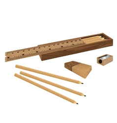 Drawing box set ruler and pencil eraser with vector