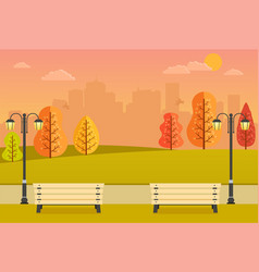 Beautiful autumn park with benches vector