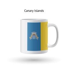 Canary islands flag souvenir mug on white vector