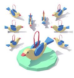 christmas tree toy birdie vector image