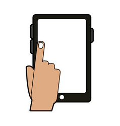Colorful silhouette tablet tech device with hand vector