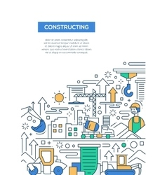 Constructing - line design brochure poster vector image
