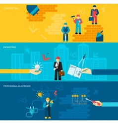 Construction professions banners vector