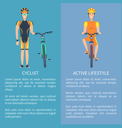 cyclist and active lifestyle set of posters vector image