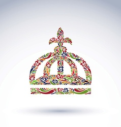 Elegant flower-patterned bright crown with vector image