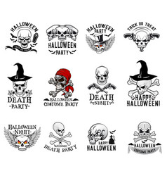 Halloween costume party skull icons vector