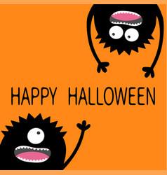 happy halloween two black screaming monster head vector image vector image