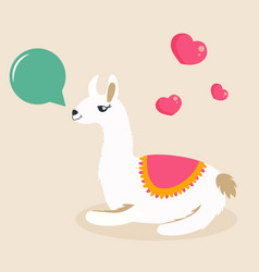 Image of funny lama chewing the gum vector