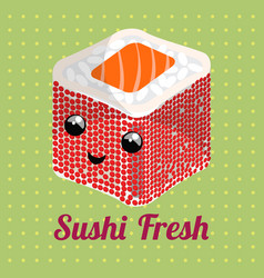 japanese roll with rice and salmon on a green vector image