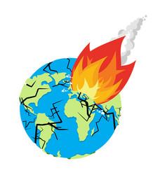 meteorite crashing earth planet is in danger vector image