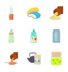 pharmacy product icons set cartoon style vector image