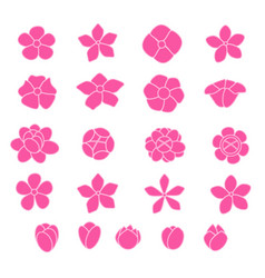 Pink flower icon set on white background vector