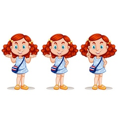 Red hair girl in three poses vector
