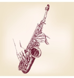 Saxophone hand drawn llustration vector