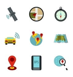 Search territory icons set flat style vector image