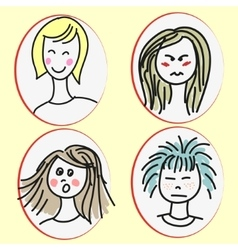 Set of cartoon girls faces vector image vector image