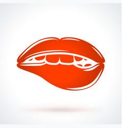 Sexy biting lips st valentines day design element vector