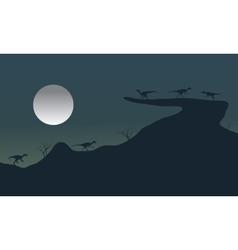 Silhouette at night megapnosaurus vector