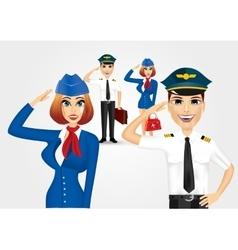 Stewardess and pilot saluting vector