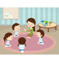 teacher reading for student vector image