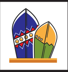 two traditional painted surfboards vector image vector image