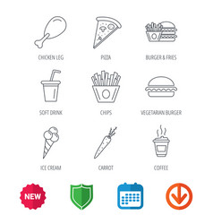 Vegetarian burger pizza and soft drink icons vector